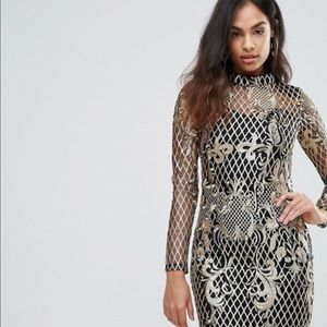 ASOS High Neck Sequin Embroidery Dress